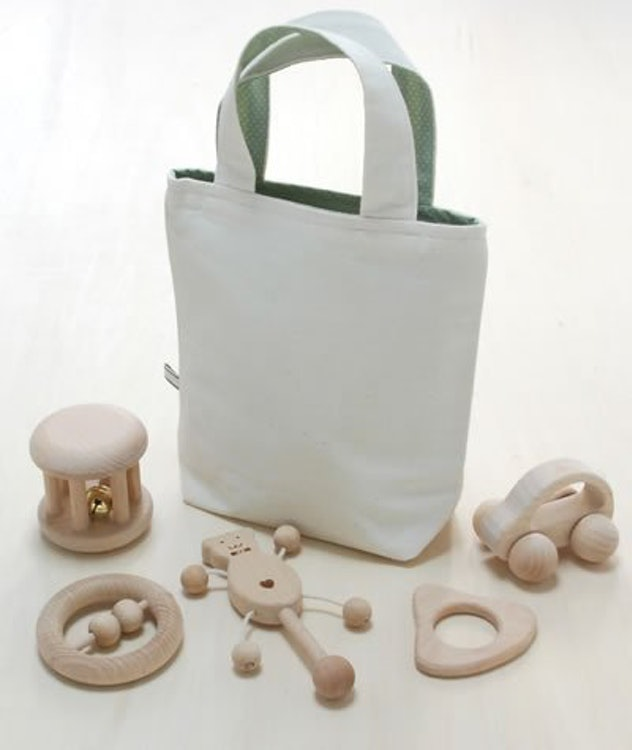 乳児用 木のおもちゃ6点セット ベビーパック(収納袋付) 1枚目