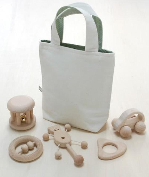 乳児用 木のおもちゃ6点セット ベビーパック(収納袋付)の画像
