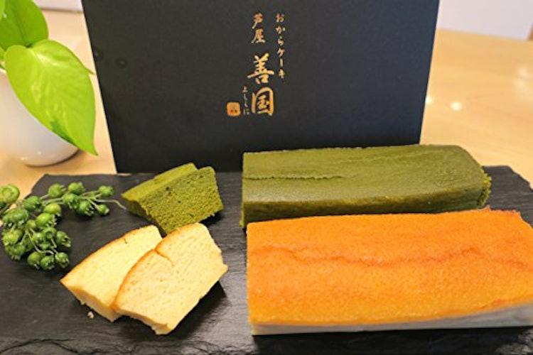 芦屋 善国 おからケーキ専門店 おからケーキ プレーン&抹茶2本組 1枚目