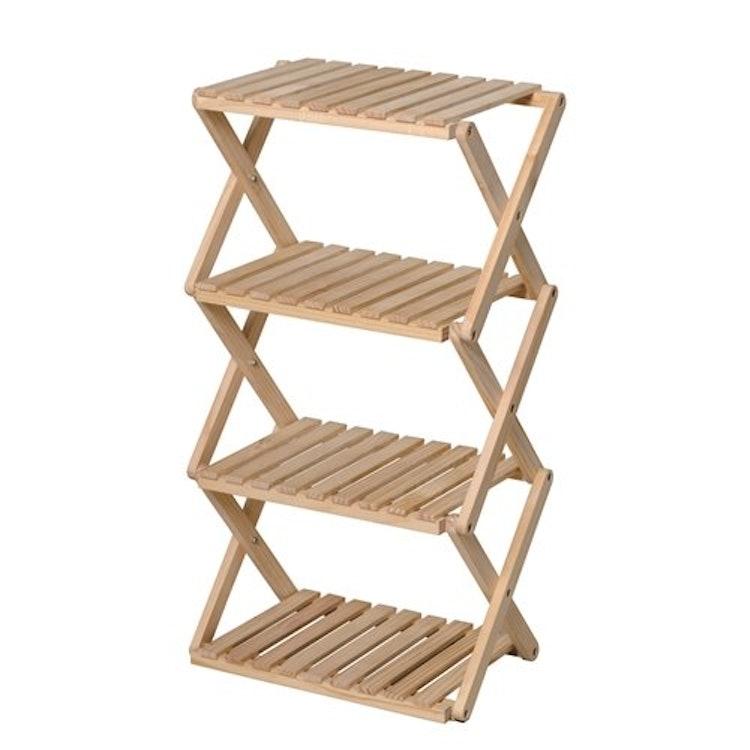 折り畳み式木製ラック4段の画像