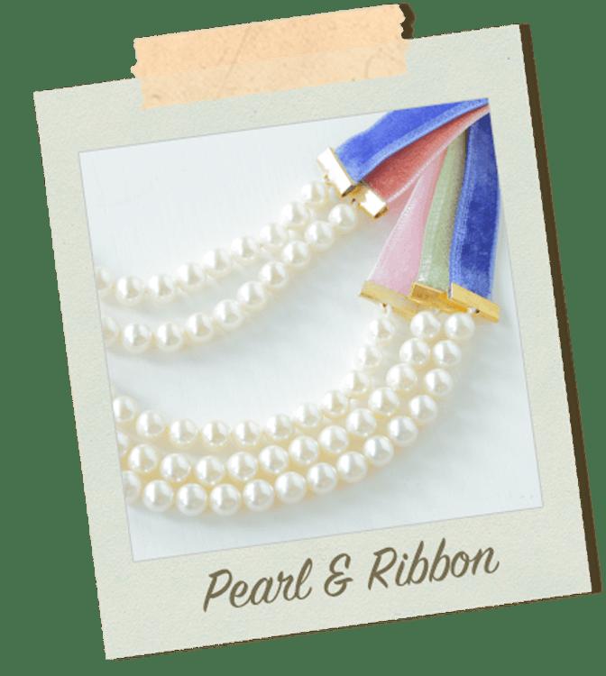 Fanimal Principessa piccolo tesoroシリーズ パールとリボンのネックレス 1枚目