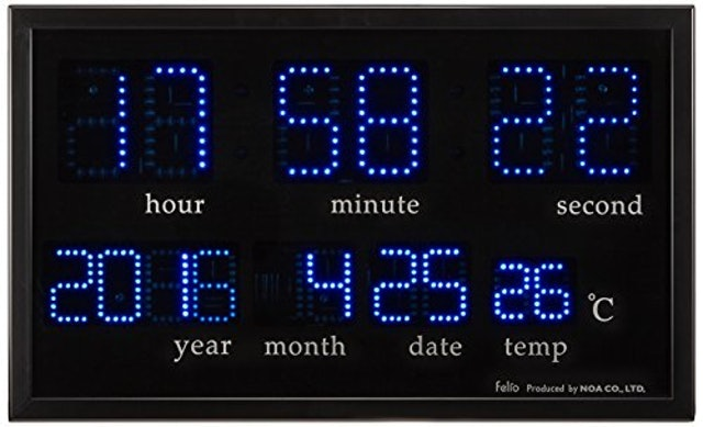 Felio デジタル壁掛け時計 アギラ ブルーLED表示 カレンダー・温度表示 1枚目