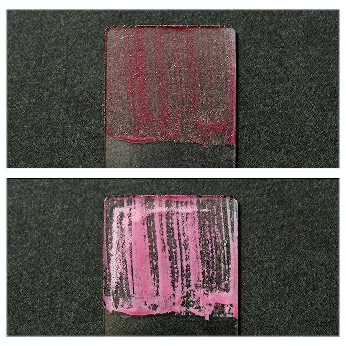 半分ほどの人工皮脂が落ちる。平均的な洗浄力