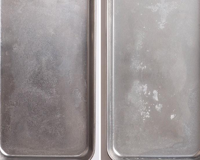 全体的に白っぽさが残り、粉を吹いたような状態に…