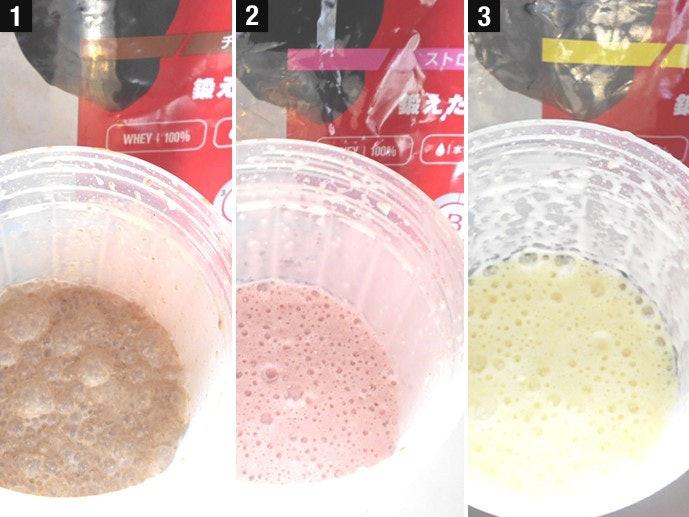 どのフレーバーも、水・牛乳どちらで作っても20回振れば十分溶けきる!