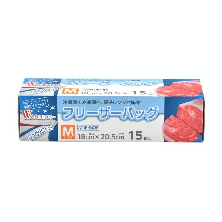 リード 冷凍も冷蔵も新鮮保存バッグ セリア フリーザーバッグ M 15枚入り 1枚目