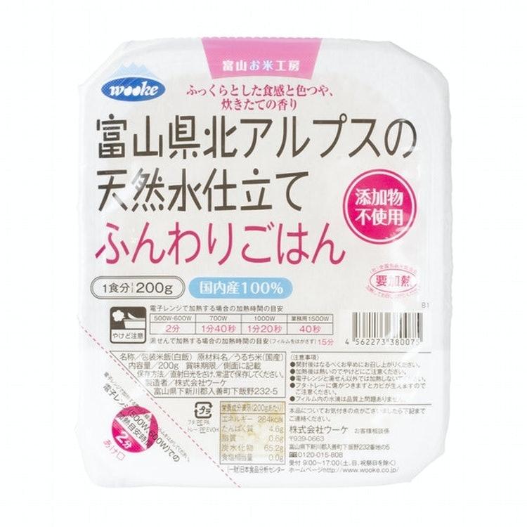 越後製菓 日本のごはん ウーケ 富山県北アルプスの天然水仕立て ふんわりごはん 国内産100% 200g×3食パック 1枚目