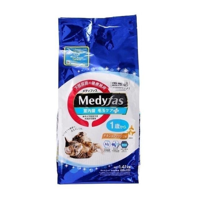ペットライン メディファス 室内猫 毛玉ケアプラス 1歳から チキン&フィッシュ味 1枚目