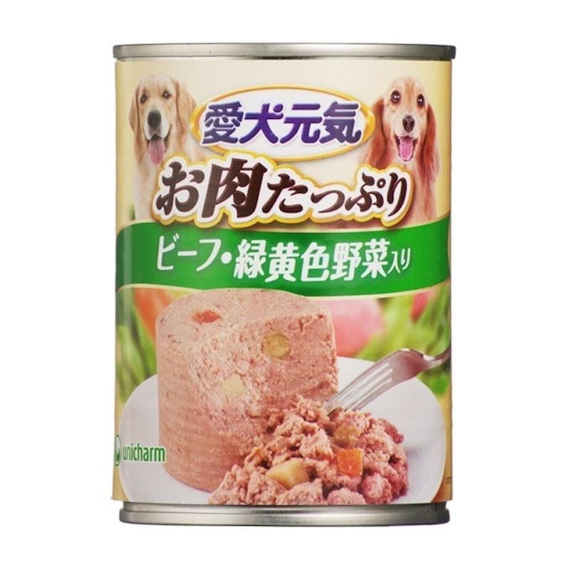 ユニ・チャーム 愛犬元気 缶 ビーフ・緑黄色野菜入り 375g